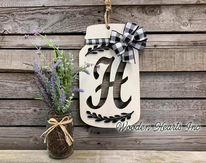 "Mason Jar Decor Wall LETTER JAR with BOW Personalized Hanging Sign Last Name Family Teacher Wedding Wood Monogram Custom Gift 13"" x 7.5"""