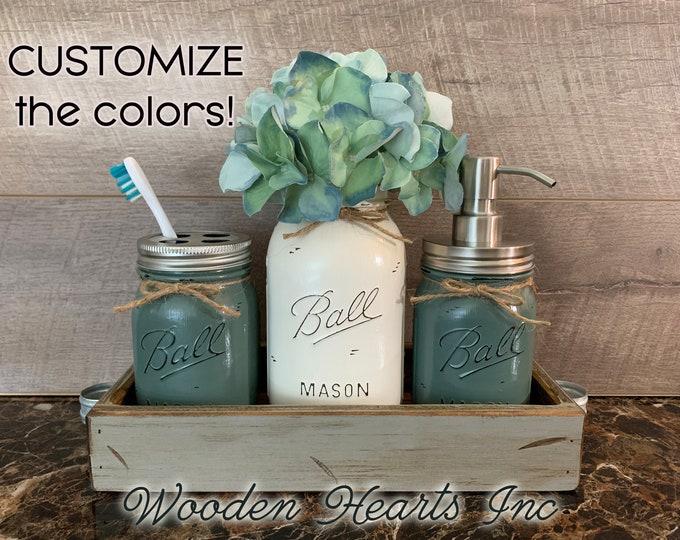 Bathroom Jar Counter Mason SET in Dove GRAY TRAY, Toothbrush Holder Quart Ball Vase Soap Dispenser Jars Distressed Decor Silver Bronze Brass