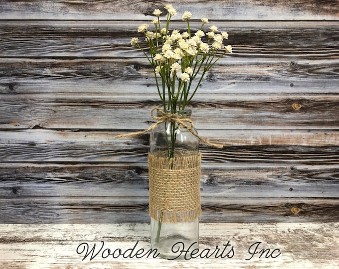 Glass bottle jar with burlap ribbon with greenery *Wedding, bridal / baby shower, kitchen table centerpiece, rustic country flower vase
