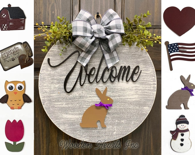 """Welcome Front Door Decor + Interchangeable Season Changer Piece 14"""" Round Sign, Hello Spring Heart FLOWER Mothers Day GIFT"""