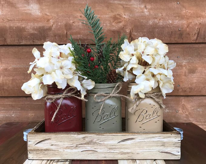 CHRISTMAS HOLIDAY Tray Centerpiece with Jars (Florals optional) Distressed Wood Antique WHITE pine flowers 3 Ball Pint Jar burg-pew-coffee