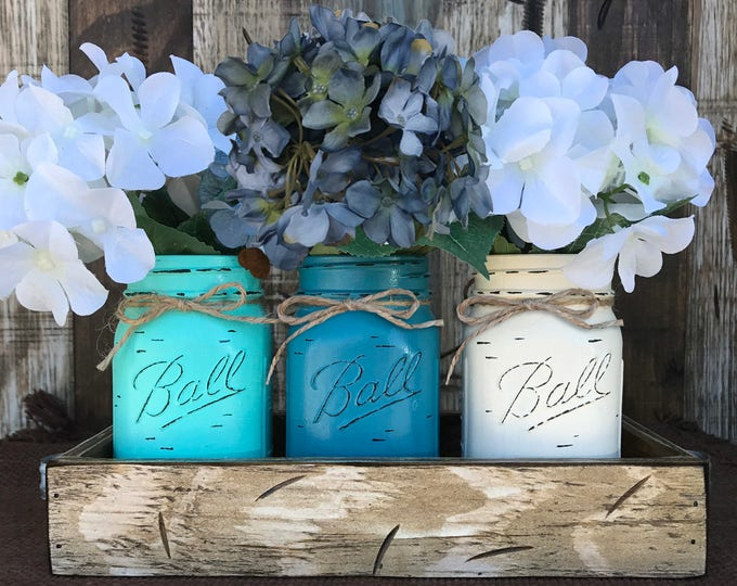 MASON Jar Decor Centerpiece (Flowers optional) -Antique White TRAY with Reclaimed Handles- 3 Ball Canning Painted Pint Jars Distressed Wood
