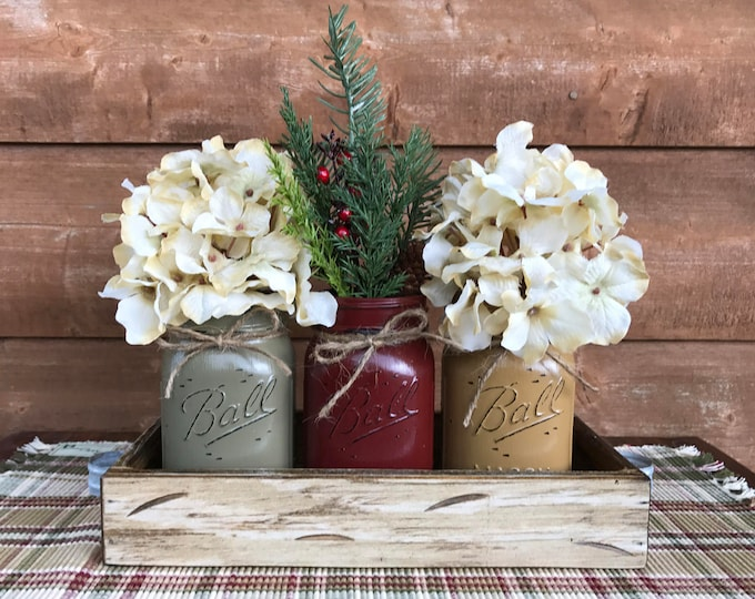 CHRISTMAS HOLIDAY Tray Centerpiece with Jars (Florals optional) Distressed Wood Antique WHITE pine flowers 3 Ball Pint Jar pew-burg-must