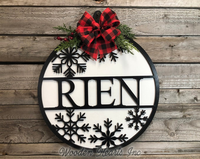 "CUSTOM Door Sign Merry Christmas, Happy Holidays, Seasons Greetings, Personalized Name, Wood Wall Mount 12"" or 16"" 3D Home Round Outdoor"