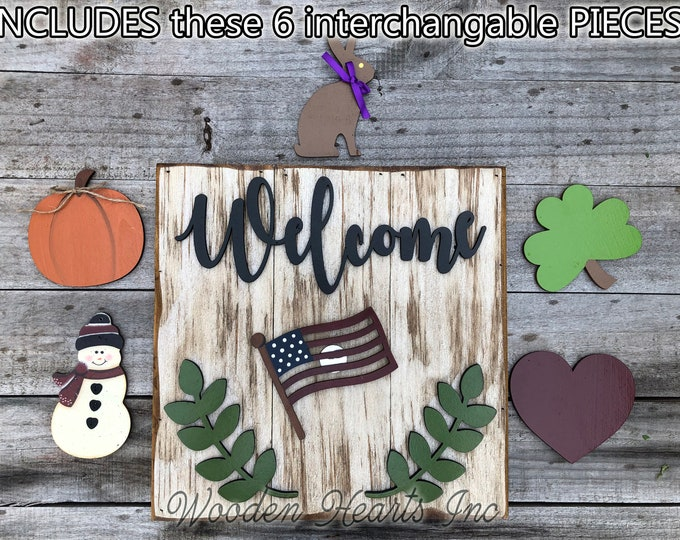 WELCOME Sign with Interchangeable Season Changer Pieces Outdoor *Heart Clover Bunny USA Flag Pumpkin Snowman Christmas Easter Veteran's Day