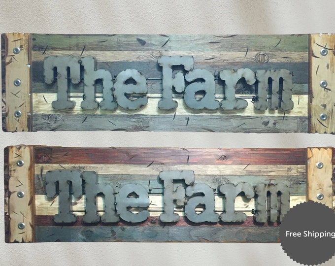 THE FARM Farmhouse Rustic Sign Reclaimed Shutter Distressed Industrial Navy Blue Green Burgundy Metal Large Pallet Wall Cabin Home Decor Log
