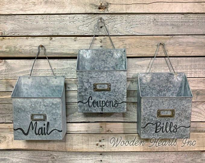 MAIL ORGANIZER WALL Bin *Reclaimed Rustic Metal Farmhouse Home Office Decor *Letter Bill Magazine Post Card Envelope Paper Holder *Storage