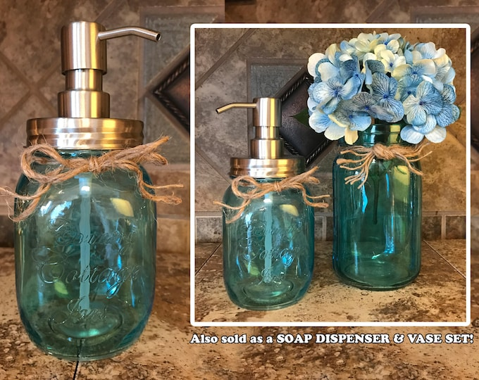Jar Soap Dispenser Stainless Steel Silver *Clear SAPPHIRE Blue *Twine *Kitchen Bathroom Decor *Liquid Dish Soap Hand Lotion *Country Cottage