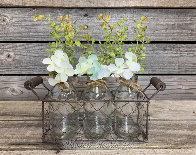 Shelf Decor Chicken Wire Tray with 3 Glass Bottles *Floral Arrangement *Farmhouse Home bathroom living room bedroom *Metal, Handle, Jars