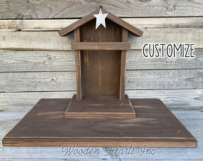 Nativity STABLE Wood CRECHE fits Willow Tree Angels *Lighted Christmas Decor Personalized Baby Manger Angel Stand Lights Green White Brown
