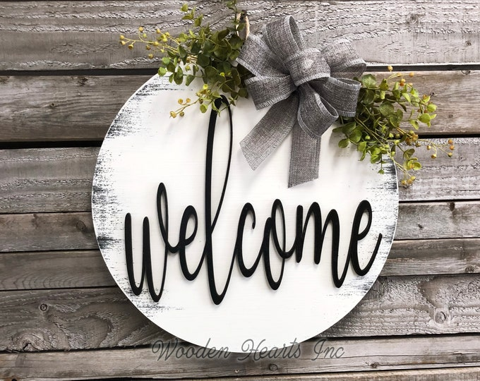 "WELCOME Sign Front Door Hanger 16"" Round 3D Wood Wreath OFFSET Bow Ribbon Eucalyptus Everyday Sign Spring Easter Distressed White Gray Black"