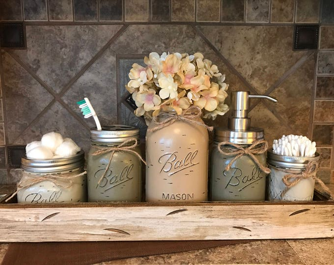 MASON Jar Bathroom Decor Antique White TRAY SET, Cotton Ball, Toothbrush Holder, Quart Vase with Flower, Soap Dispenser, Mini Q-tip Jars