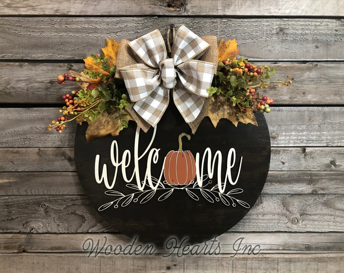 "FALL Door hanger Wreath WELCOME Pumpkin Wood Round Sign 16"" 3D Wood Lettering Bow  Leaves with Berries Distressed White Orange Brown"