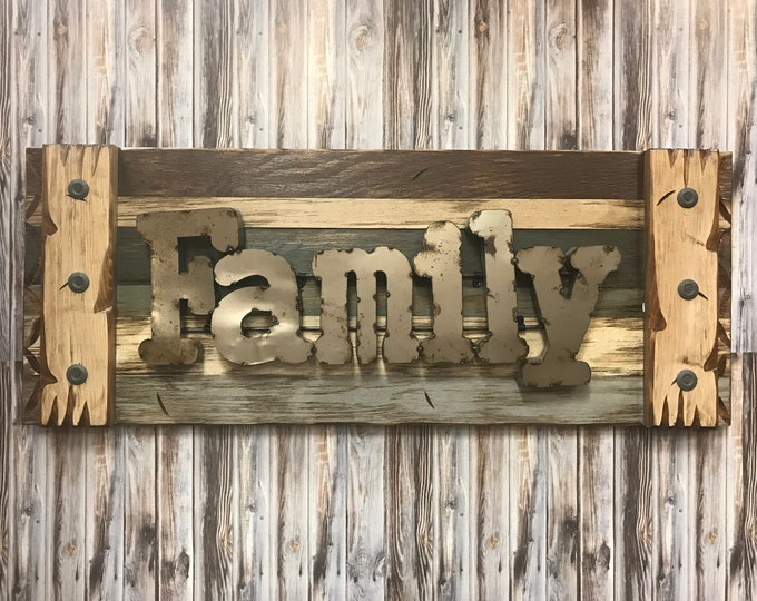 FAMILY Rustic Sign Reclaimed Distressed Industrial Navy Blue Green Red Brown Metal Large Pallet Wall Home Decor Log Cabin Gift Shutter 36x14