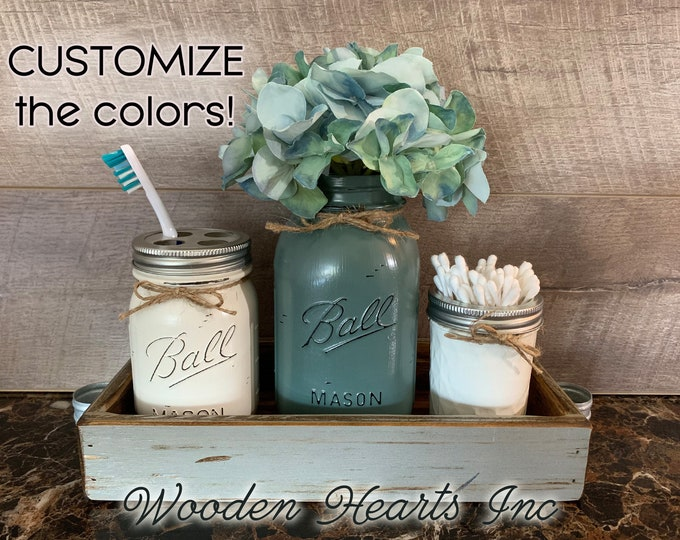 Toothbrush Holder MASON Jar Bathroom SET in Medium Gray TRAY, Quart Ball Vase, Mini Q-Tip Jars Painted Distressed Counter Decor Silver