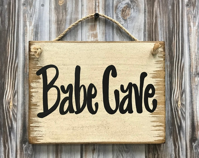 BABE CAVE Sign Wood, Man Cave, She Shed, Wooden wall distressed sign with twine hanger, Antique White Cream, Gift for man woman 6x8