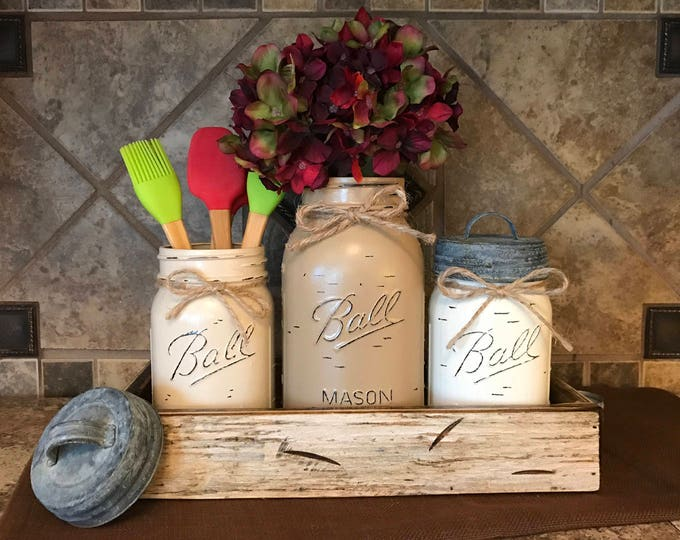 MASON Jar Kitchen CANISTER SET with metal galvanized lids, Utensil Holder, Painted Pint Jars Distressed Brown Tan Red White *Flower Optional