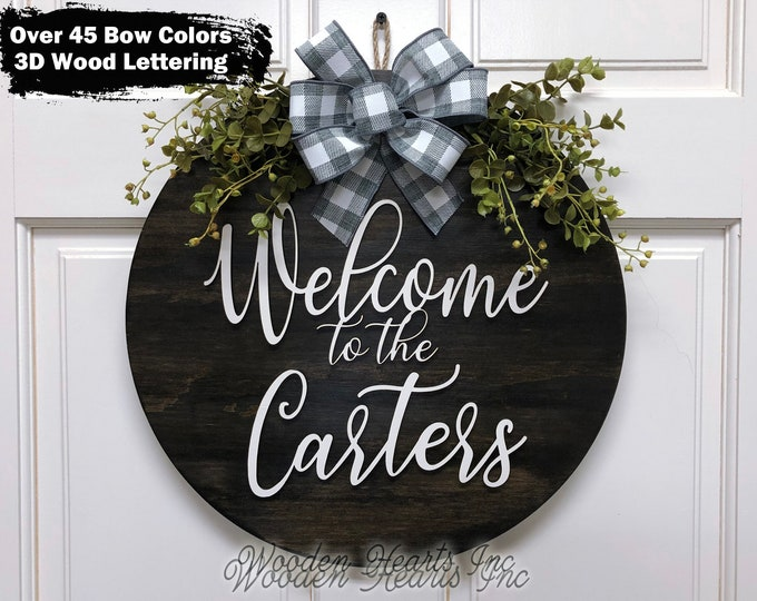 """Personalized Front Door Hanger, Welcome to the (custom last name) Wreath 3D Wooden Bow Ribbon Greenery Decor Everyday 16"""" Round Sign White"""