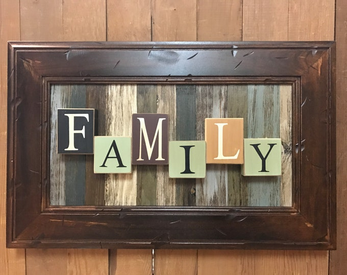 FAMILY Sign Wood BLOCKS Framed Reclaimed Distressed Our Photos Rustic Barn Wood Pallet Stripe Style Wall Home Decor Burgundy Green Log Cabin