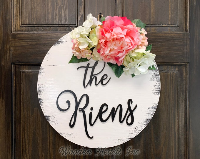 "Door Hanger for front door PERSONALIZED Welcome Wreath Custom Last Name Peony Hydrangea Flowers Decor Everyday 16"" Round Sign Spring White"