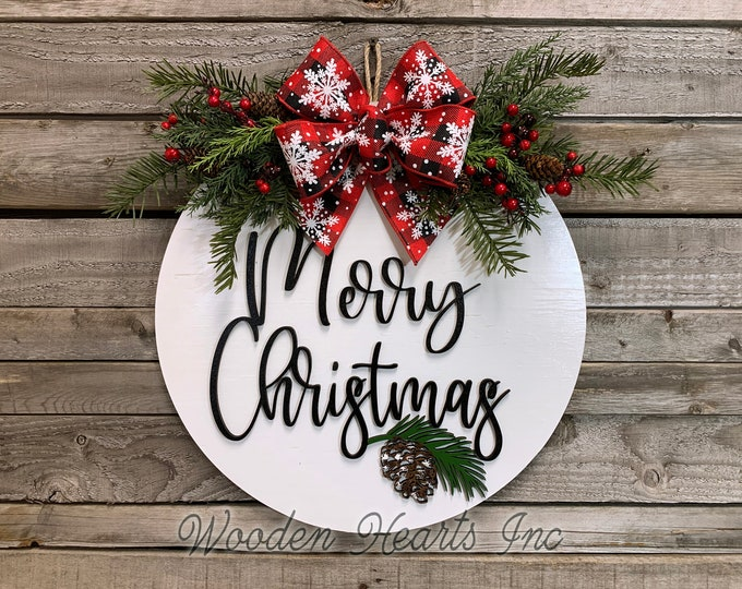 "Christmas Door hanger Wreath Holiday Sign Wood Round Gift Pinecone, Welcome Happy Holidays, Seasons Greetings, 16"" 3D Wood Lettering Bow"
