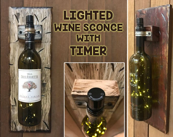 WINE Bottle LED LAMP Wall Sconce with Timer and lighted bottle stopper (Bottle Not Included) Display a special occassion bottle Wedding Gift