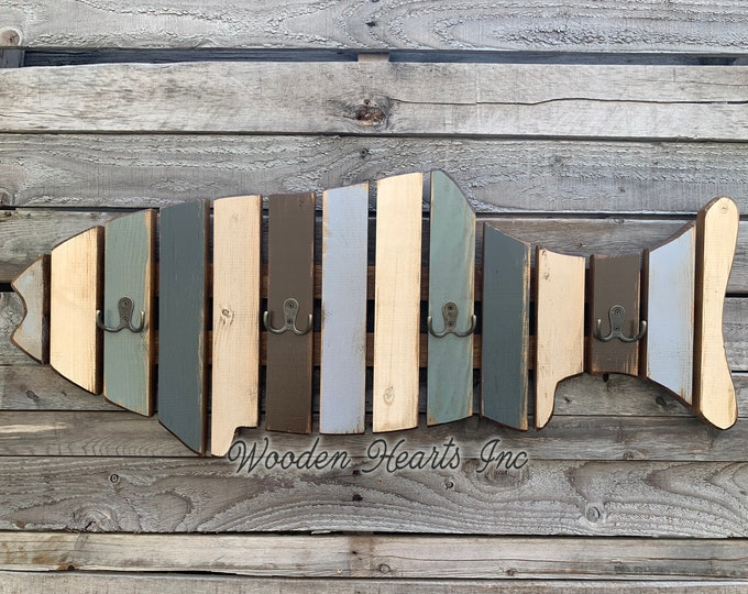 COAT RACK FISH Shaped Towel Reclaimed Wood metal hooks Lake Home Wall Decor Cabin Distressed Coatrack Blue Cream Cabin Fisherman Unique