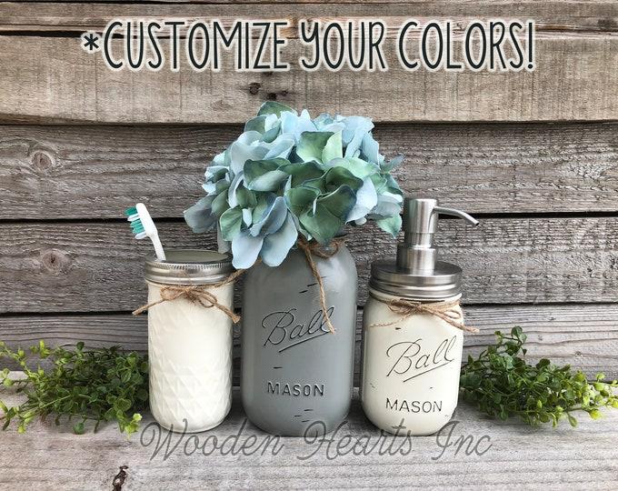 MASON JAR Bathroom Decor SET 3 piece, Soap Lotion Pump Dispenser Makeup Brush Quart Vase Toothbrush Holder Painted Ball Jars Kitchen Counter