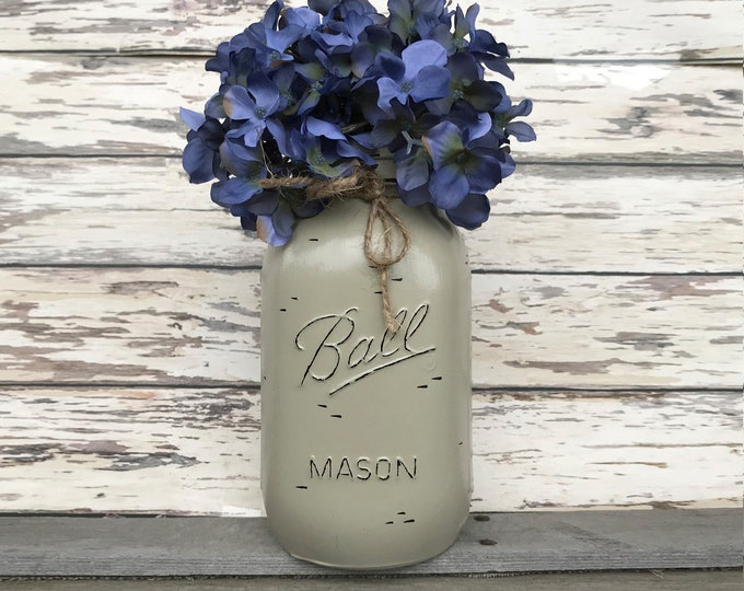 MASON JAR Decor Distressed Ball QUART Hand Painted Reclaimed Cream White Tan Brown Gray Teal Blue *Great for Centerpiece Flower (Optional)