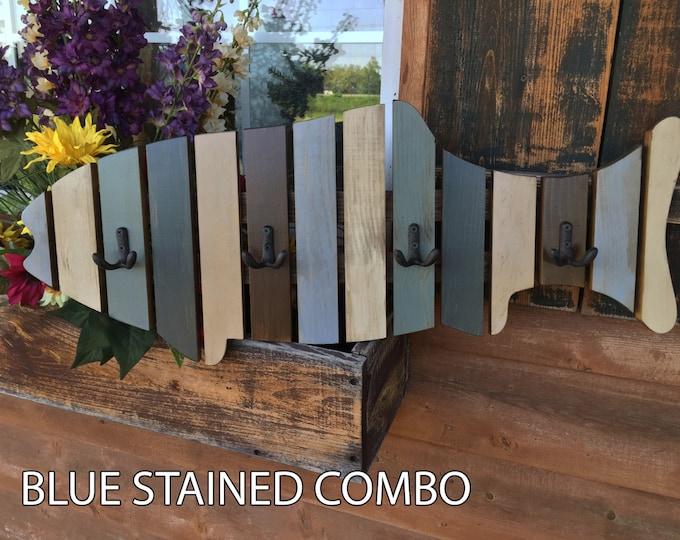COAT RACK FISH Shaped Towel Reclaimed Wood 6 metal hooks Lake Home Wall Decor Cabin Distressed Coatrack Blue Cream Cabin Fisherman Unique