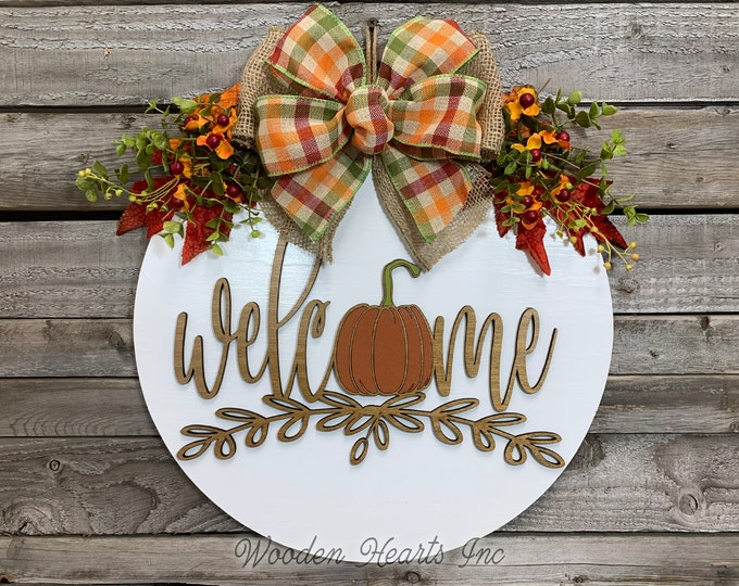 """FALL Door hanger Wreath WELCOME Pumpkin Wood Round Sign 16"""" 3D Wood Lettering Bow  Leaves Distressed White Orange Brown"""
