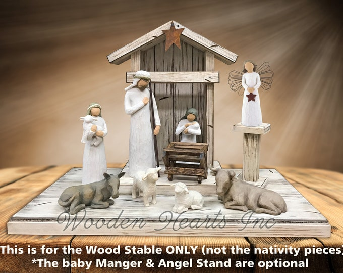 Nativity STABLE Wood CRECHE for Willow Tree Angels *Lighted Distressed Christmas Decor *Personalized Sign Lights Baby Manger Angel Stand