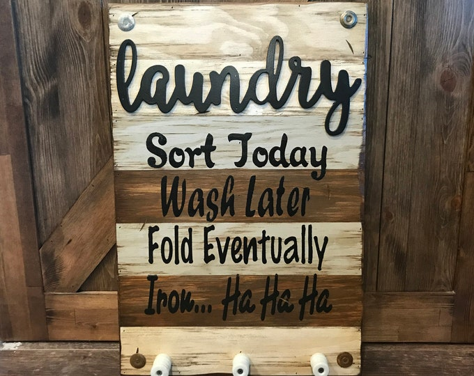 LAUNDRY Wooden SIGN with knobs *Sort Wash Fold Iron *Beautiful Distressed Wood Wall *Rustic Home Decor, Room *Cream Blue Gray Brown 16X24