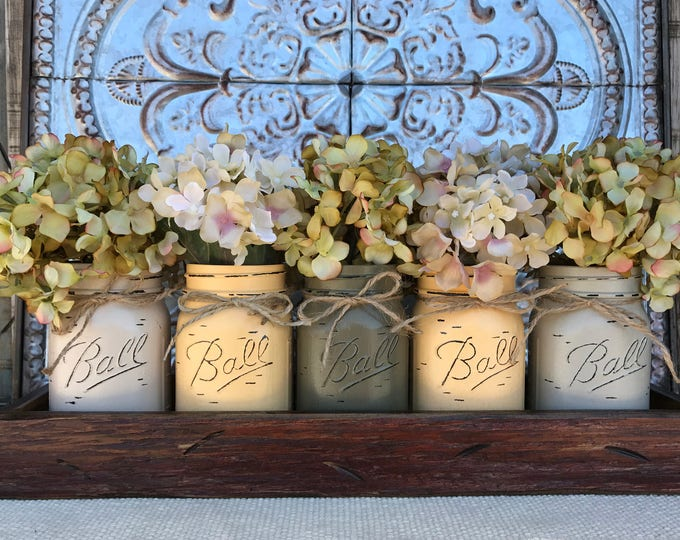 MASON Jar Decor Centerpiece (Flowers optional) -Antique RED TRAY with Reclaimed Handles- 5 Ball Canning Painted Pint Jars Distressed Wood