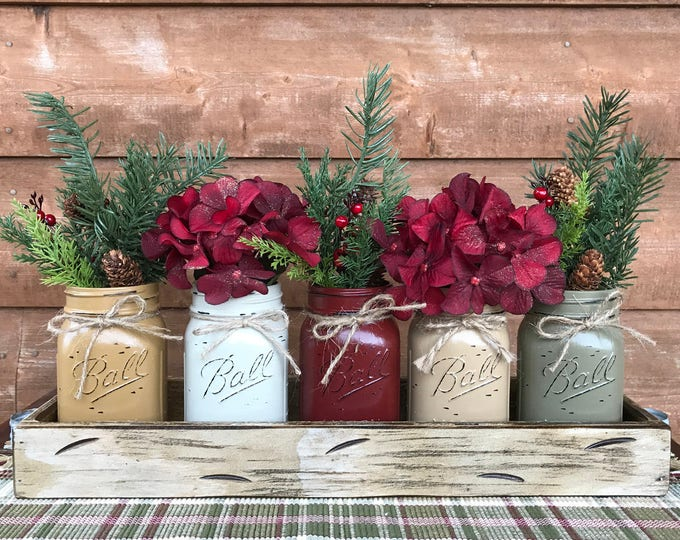 CHRISTMAS HOLIDAY Tray Centerpiece with Jars (Florals optional) Distressed Wood Antique WHITE pine flowers 5 Ball Pint Jar mus-cr-bu-cof-pew