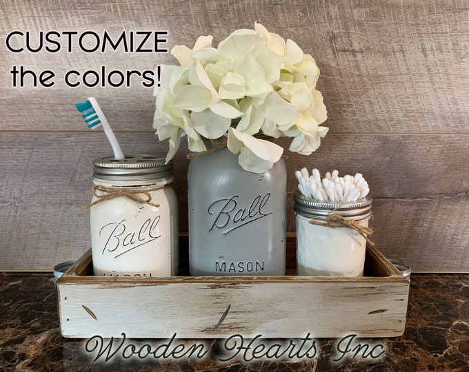 Bathroom MASON Jar SET in Dove Gray TRAY, Toothbrush Holder, Quart Ball Vase, Mini Q-Tip Jars Painted Distressed Counter Decor Silver