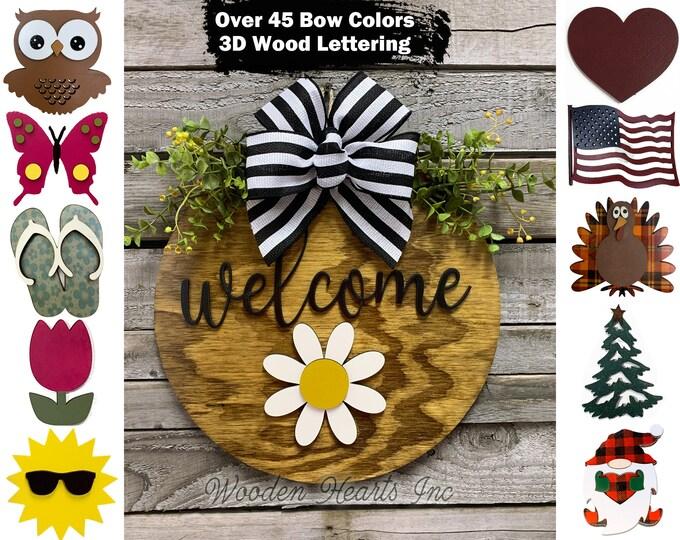 "Door Hanger Spring Wreath Year Round Welcome Bow Front Door Decor + Interchangeable Season Changer Piece 14"" Sign, Hello Dragonfly Heart"