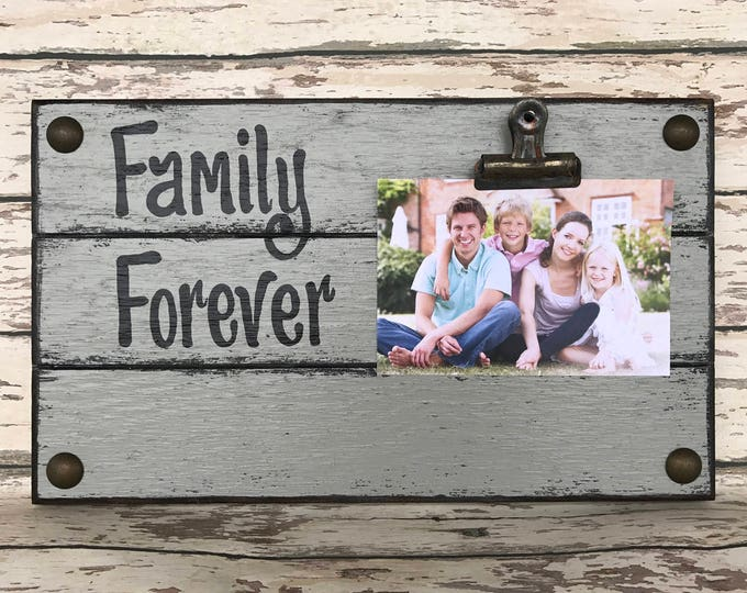 PHOTO HOLDER Family Forever Picture Wall Frame Reclaimed Sign with Clip Gray Wood Grandchild Grandma and Grandpa Dog Dogs Baby Angel Kids