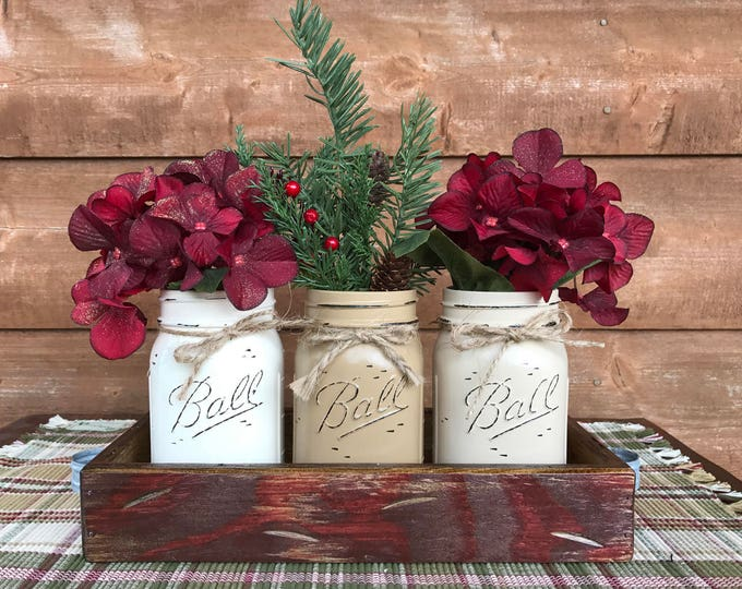 CHRISTMAS HOLIDAY Tray Centerpiece with Jars (Florals optional) Distressed Wood Antique RED pine flowers 3 Ball Pint Jar cream-coffee-sand