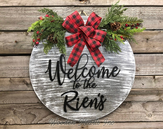 """Christmas Wreath Sign PERSONALIZED Welcome to the (last name) Holiday Door Wall Decor Merry Christmas Xmas Ribbon Large 16"""" Round Hanger"""