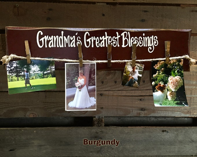 GRANDMAS Greatest Blessings PHOTO Holder Sign Wall Hanging Wood Picture Frame Gift for Grandma Grand kids Family Rustic Clothes Pins Clips