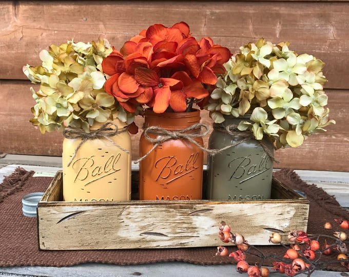FALL MASON Jars Decor for Thanksgiving Centerpiece (Flowers optional) Antique White TRAY Distressed Wood 3 Ball Painted Pint Jar egg-or-pew