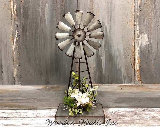 "WINDMILL FARMHOUSE Decor Reclaimed Metal with silk florals *13.75"" x 6"" *FARM Sculpture Metal Standing Windmill *Rustic Distressed Country"