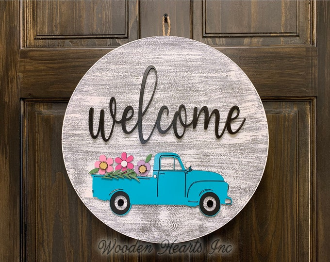 "Welcome Sign Front Door Hanger BLUE TRUCK with FLOWERS 16"" Round Wood Wreath Everyday Spring Easter Vintage Distressed White Gray Black"