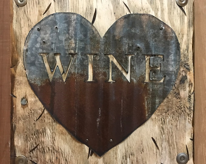 WINE Wall Sign with GALVANIZED METAL ~ Rusty Heart Reclaimed Home Decor ~ Distressed Rustic Wood Kitchen Bar Love Winery Tan Cream Handmade