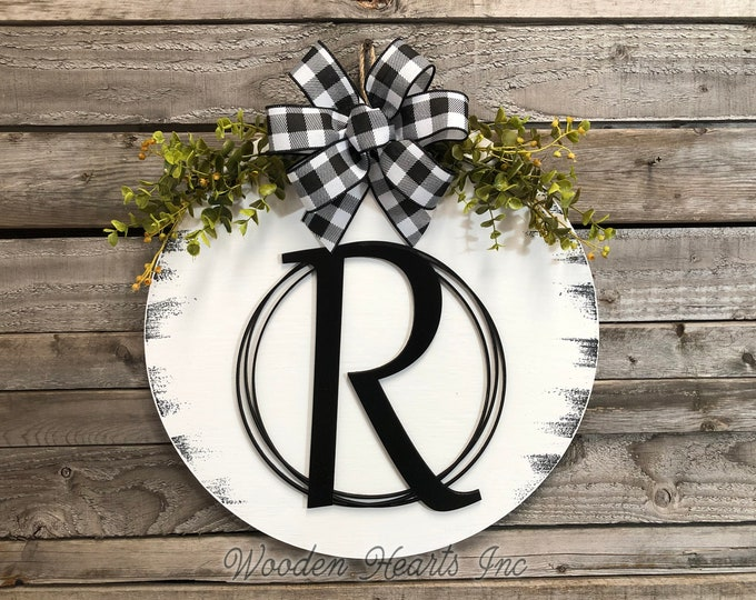"""MONOGRAM Front Door Hanger 16"""" Round Wood Letter Welcome Sign Wreath with Bow Ribbon Eucalyptus Everyday Sign Distressed White Gray Black"""