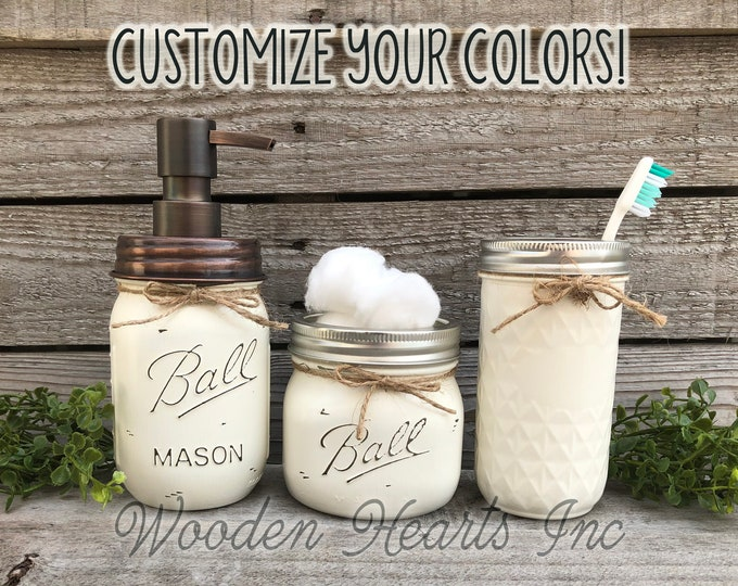Farmhouse MASON JAR Bathroom Decor SET 3 piece, Soap Lotion Pump Dispenser Makeup Brush Toothbrush Holder Painted Ball Jars Kitchen Counter