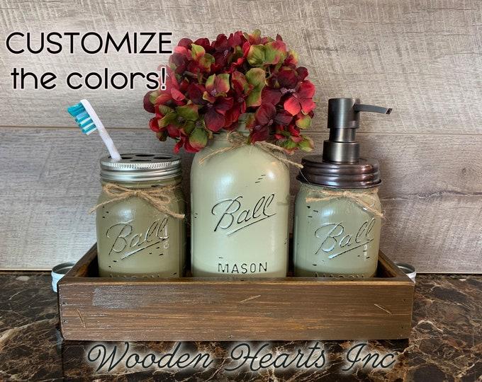 Bathroom Jar Counter Mason SET in BROWN TRAY, Toothbrush Holder, Quart Ball Vase, Soap Dispenser Jars Distressed Decor Silver Bronze Brass