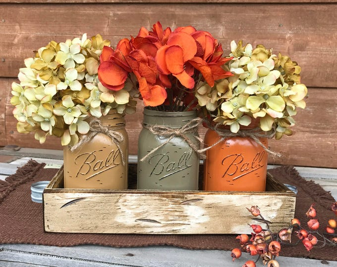 FALL MASON Jars Decor for Thanksgiving Centerpiece (Flowers optional) Antique White TRAY Distressed Wood 3 Ball Painted Pint Jar must-or-pew