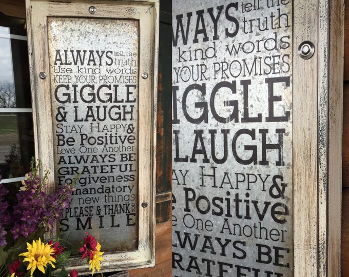 Wall Art Framed GIGGLE & LAUGH Cream Industrial Metal Home Decor Reclaimed Wood Vertical Smile Love Happy Please Family Rules Thank You Joy